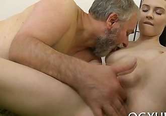 Pretty young gal fucked by old dude