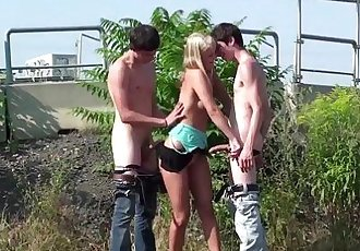 Young blonde teen hottie public gang bang orgy threesome on the streetHD+