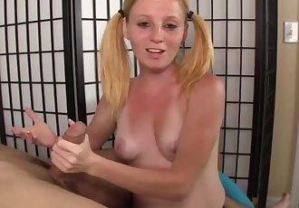 Teen redhead handjob demonstration