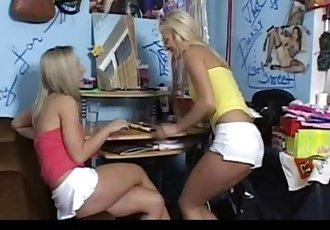 Two girl friends share a dick in bedroom