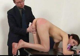 Shy schoolgirl spanked by teacher