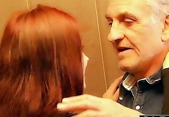 Young slut hard fucked by old horny man he fucks her pussy and licks clitHD