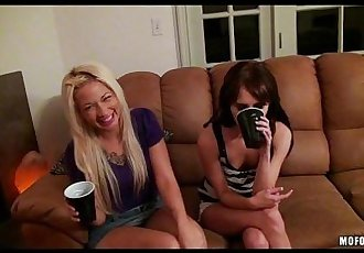 Two slutty GFs turn a party into an orgy - 12 min HD