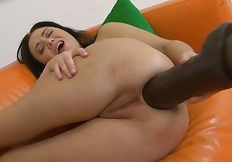 Teen expanding her asshole with two very big brutal dildos