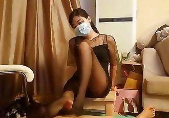 Chinese Sexy Pantyhose Footjob