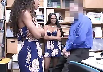 Two Ebony Shoplifter gets fuck in the office 6 min
