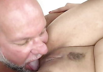 Fresh pussy filled with Grandpa dick 6 min 1080p