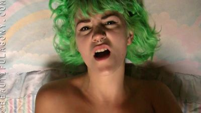 Green haired girl masturbating