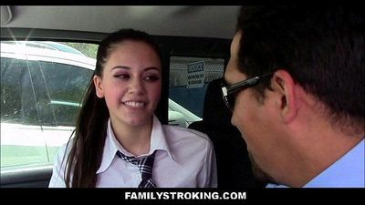 Tiny Latina Step Daughter Sucks Dad Off