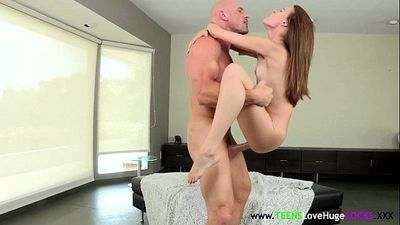 Teen swallows cum from big cock