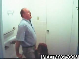 Teacher gets blowjob in a public bathroom