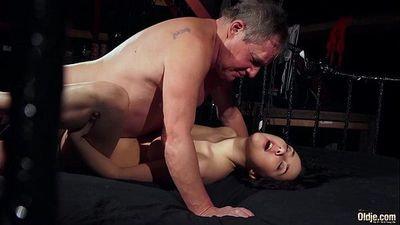 Old man is spoiling his dick with fresh young wet pussHD