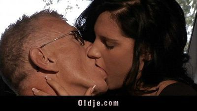 Horny old man bangs with cute brunette babeHD