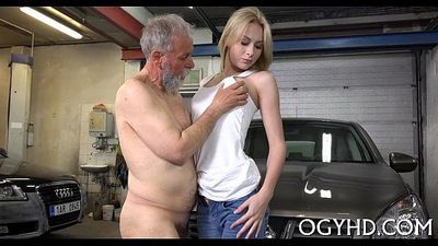 Cute juvenile gal screwed by old guy