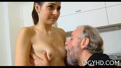 Hot young sweetheart banged by old lad