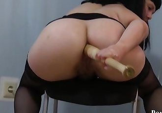 Natasha fucks her ass with a baseball bat