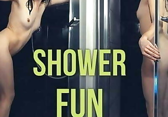 Masturbating her Young Pussy with a Big Dildo in a Shower - Tacy Tight