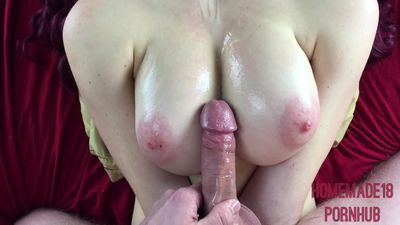 Oiled 18 Year Old Gets Titty Fucked And Jizzed On