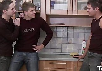 TWINK BOY MEDIA Kitchen Twink ThreesomeHD