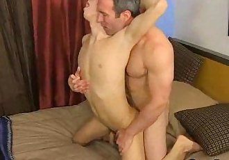Twink gagging on matures guys pipe