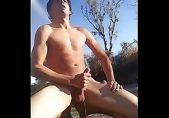 Sexy hard boy pissing and cumming on the beach!!!!