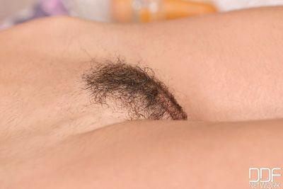 European chick Julia Roca flashing hairy pussy before giving blowjob