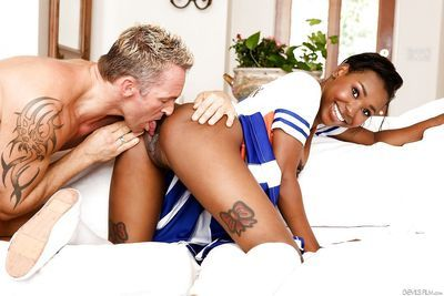 Pierced cheerleader Ashton Devine bends over for for hard doggystyle bang