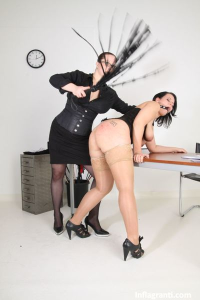 Euro lesbian women Lady Alexa & Sarah Leony fisting in lezdom office sex