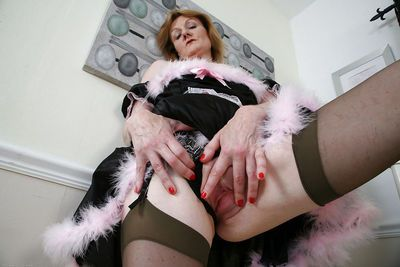 Mature maid in the uniform Clare Cream wants to masturbate now - part 2