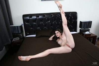 Brunette Serena spreading sexy legs & pink pussy lips wide for shaved closeup
