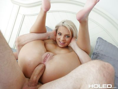 Petite blonde chick Tiffany Watson pulling legs behind for deep anal thrusting
