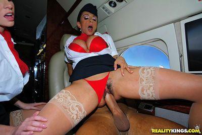 Sexy flight attendants in stockings fucking first class passanger - part 2