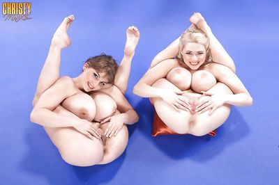 Leggy dykes Christy Marks and gf flaunt huge juggs with legs behind head - part 2