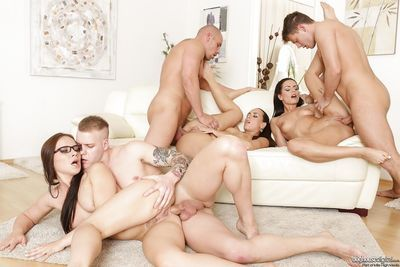 Hot sluts get anal fucking and covered in cum in hot groupsex swingers orgy - part 2