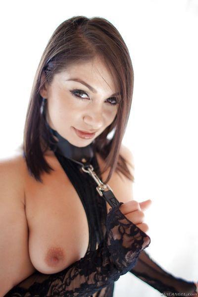 Erotic model Lea Lexis in heels & lace panties spreading to show bad twat