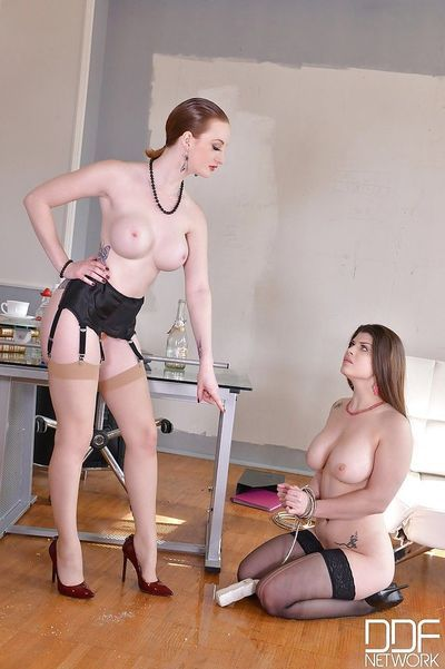 Lesbian dominatrix slaps and spanks helpless female before pissing in mouth - part 2