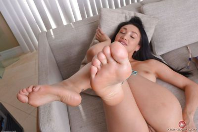 Hot Asian chick Vicki Chase removes heels from sexy feet before airing bush - part 2
