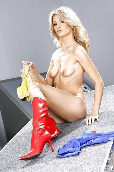 Blonde pornstar Amanda Tate flashing ass in boots and cosplay uniform - part 2