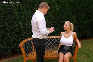 Filthy busty blonde girl gets her horny pussy peed on in the back yard