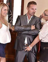 Blond secretaries Aisha & Helena Valentine fuck their boss and his biz partner