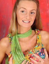 Blonde babe Gia Bawerk unveils big MILF tits before slipping out of panties