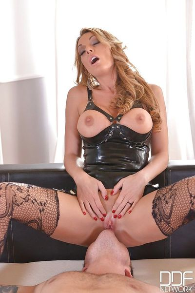 Hot femdom action with busty domme Stacey Saran supplying discipline to man - part 2
