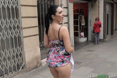 Latina babe Pamela Sanchez flashing upskirt ass and hairy pussy outdoors