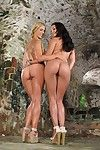 Blonde MILF Cherie DeVille and hot Latina gf having lesbian sex in cellar