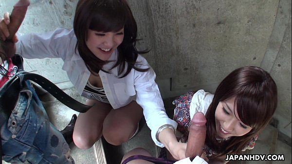 Two slutty Asian sluts sucking dudes on the stairwell HD