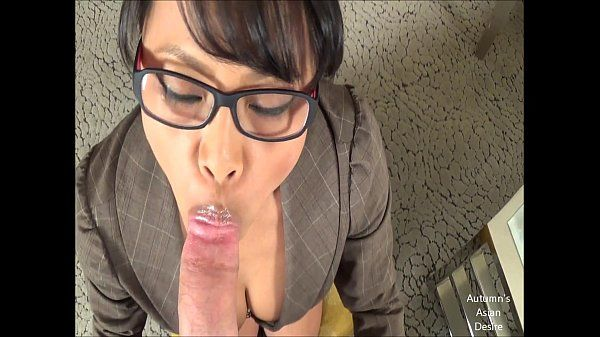 Hot Asian Accountant Sucks White Cock HD