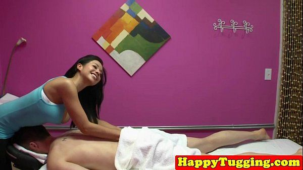 Bigtitted asian masseuse wanking her client