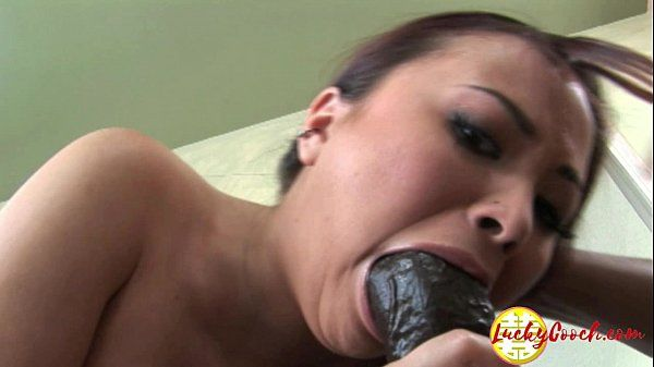 Skinny light skinned tiny asian deep fucked by big black fat cock in mouth HD