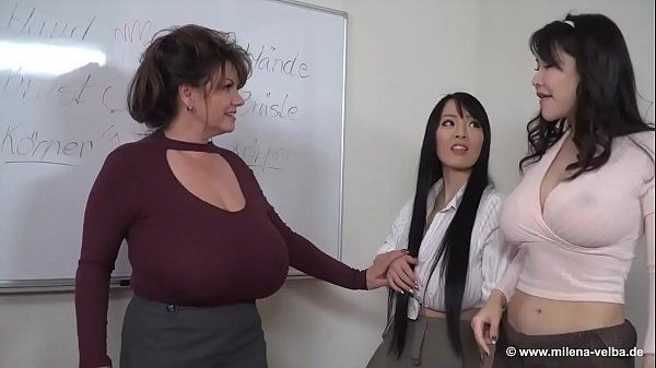 Two young asian girls and one german mature