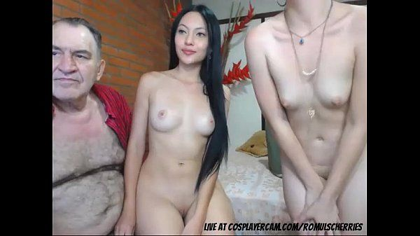 Old man fucking two young asian whores on cam